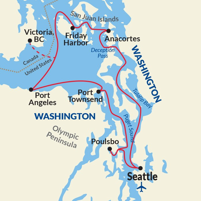 Map for Puget Sound and San Juan Islands Adventure