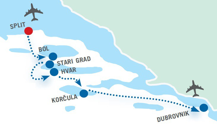 Map for 4 day Split to Dubrovnik Luxury cruise