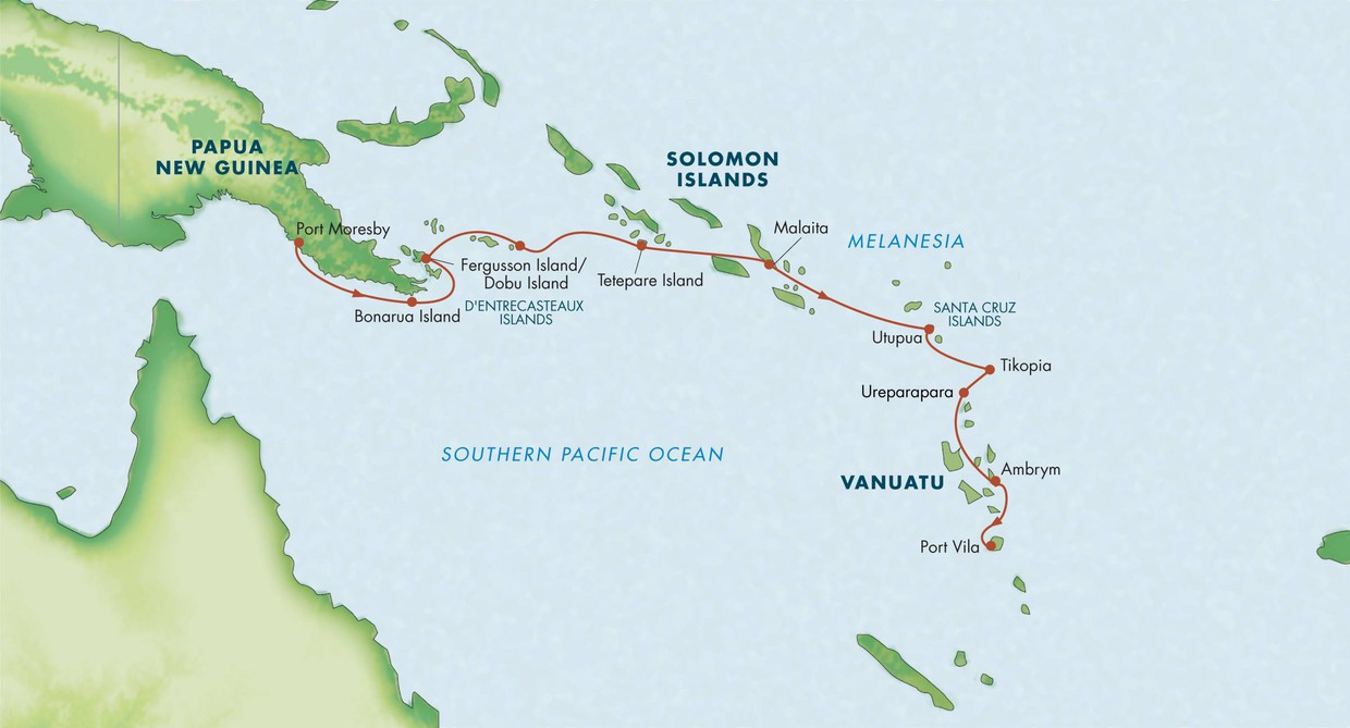 Map for Melanesia, Solomon Islands & Vanuatu