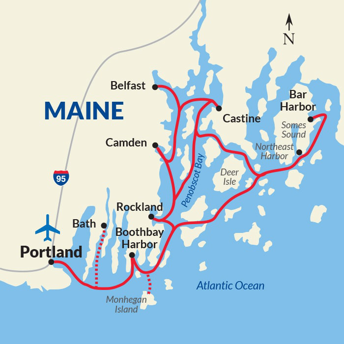 Map for Maine Coast and Harbors Voyage