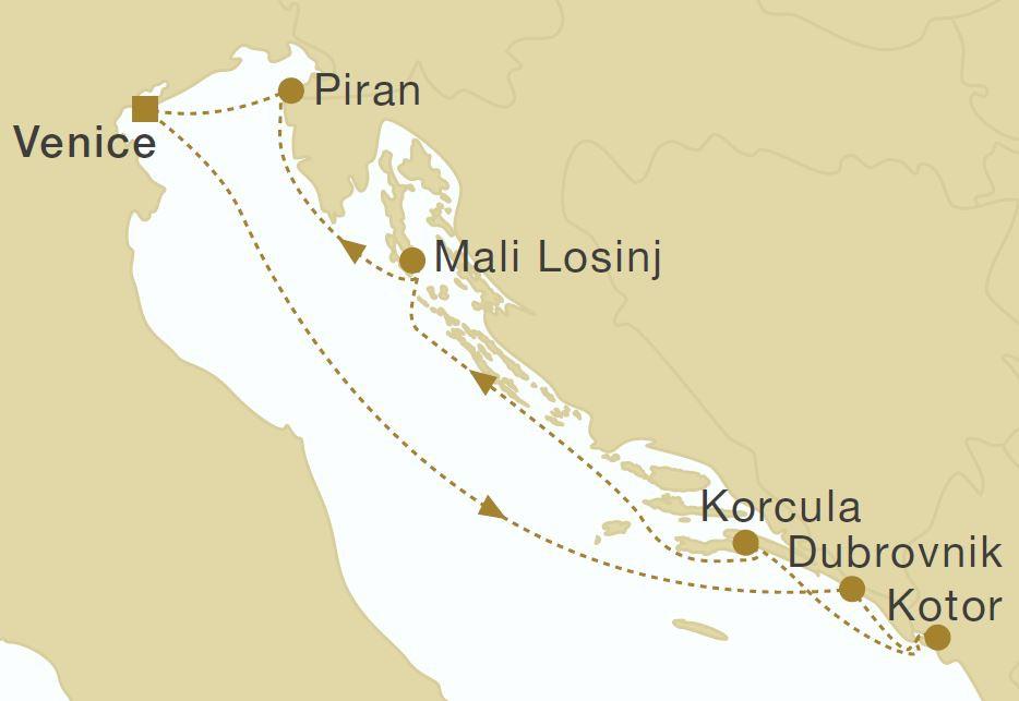 Map for Croatia & Montenegro (Star Flyer)
