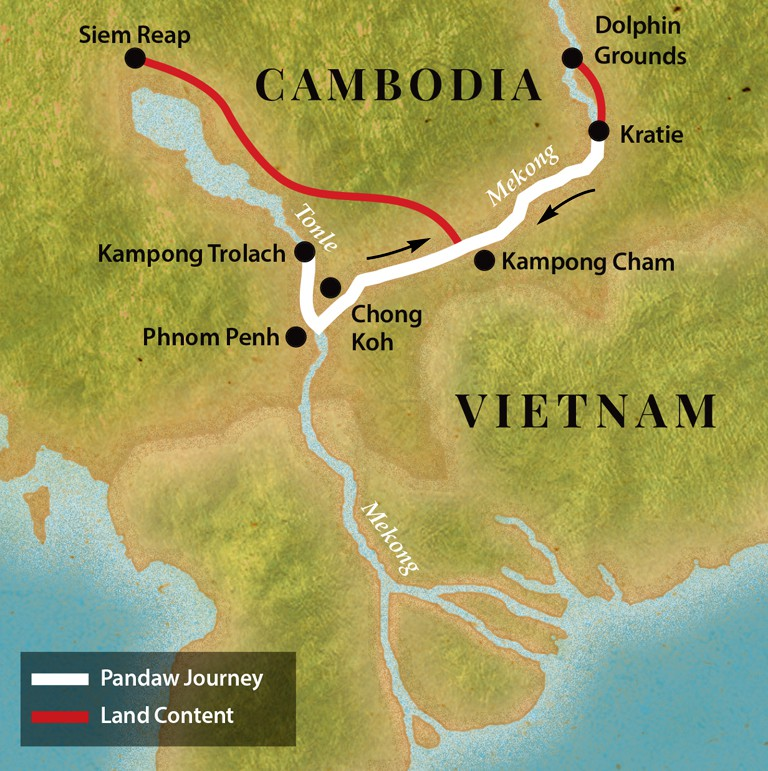 Map for Phnom Penh and Siem Reap - Upstream (Tonle Pandaw)