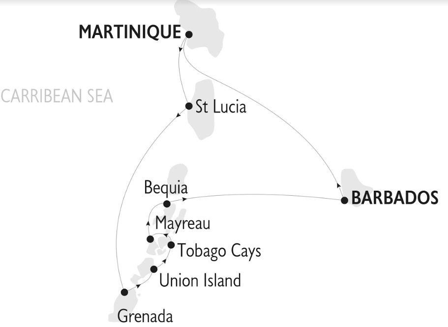 Map for Barbados & The Grenadines: Barbados to Barbados