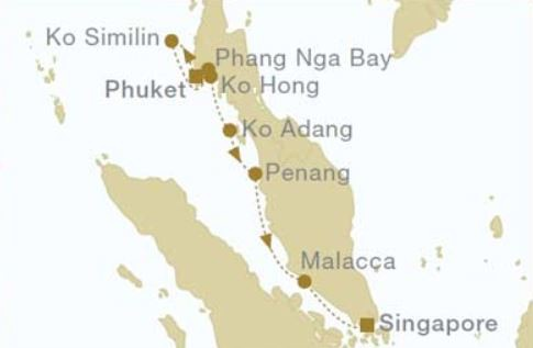 Map for From Phuket to Singapore (Star Clipper)