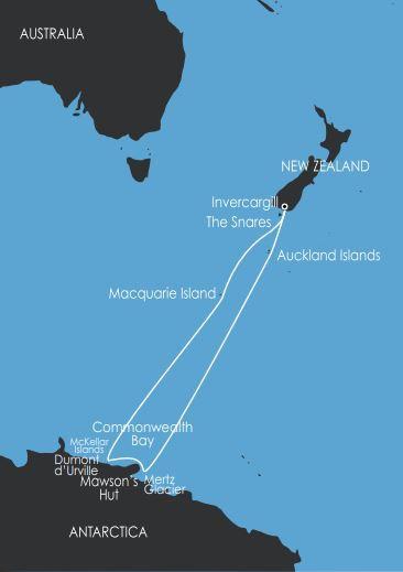 Map for In the Wake of Mawson (Akademik Shokaliskiy)