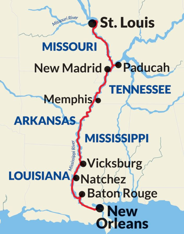 Map for Mississippi River Gateway Cruise