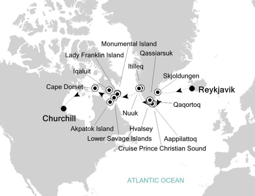 Map for Reykjavik to Churchill: Arctic & Greenland Expedition Cruise