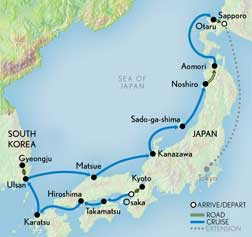 Map for Wonders of Japan Cruise