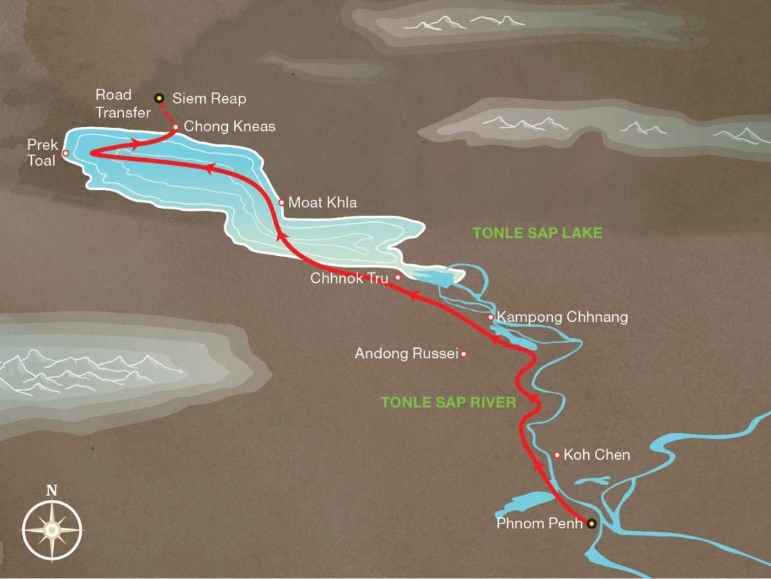 Map for Discovery Cruise - From Phnom Penh to Siem Reap