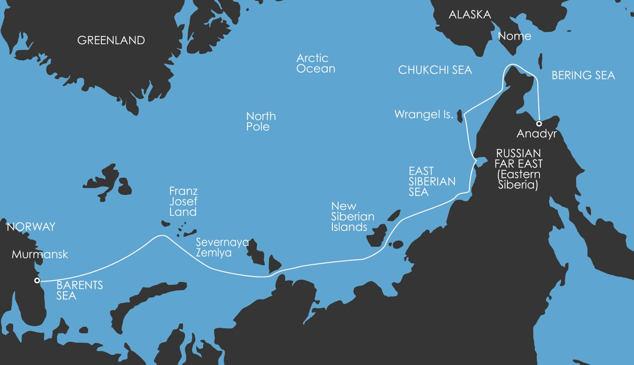 Map for North East Passage: The Northern Sea Route