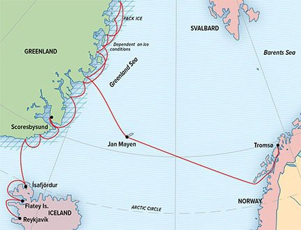 Map for East Greenland: Wild Shores of The High Arctic