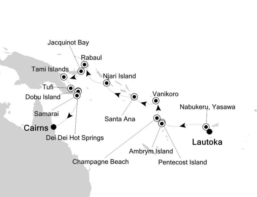 Map for Lautoka to Cairns: South Pacific Islands Expedition Cruise