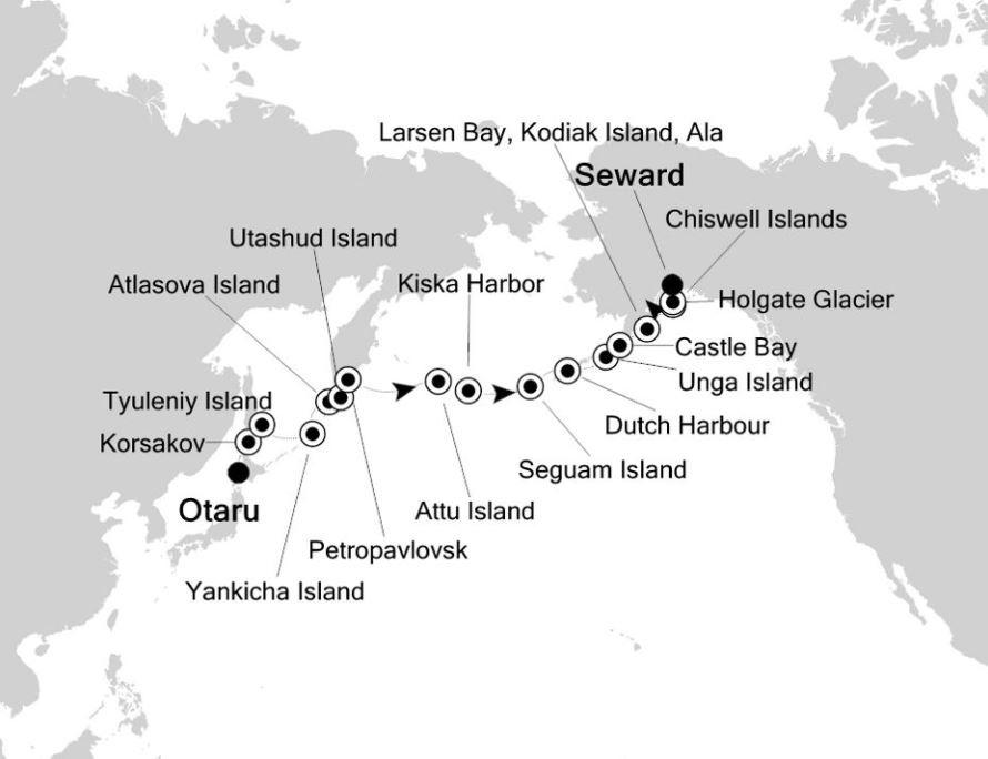 Map for Hokkaido to Seward: Russia & Alaska Expedition Cruise