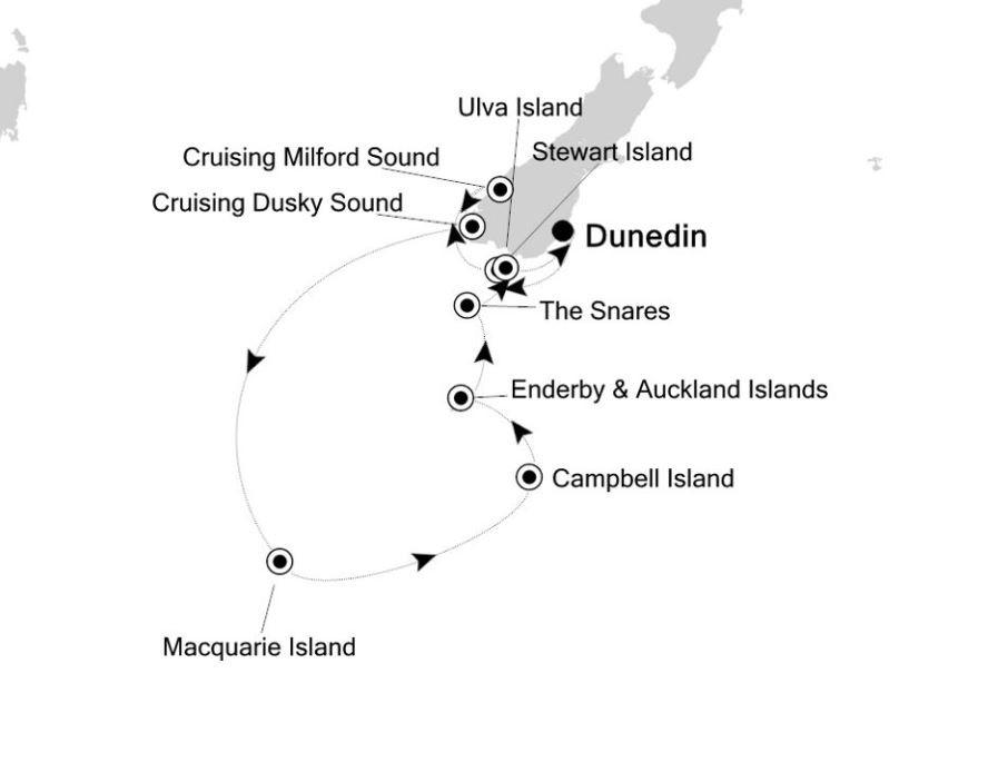 Map for New Zealand & Sub Antarctic Cruise