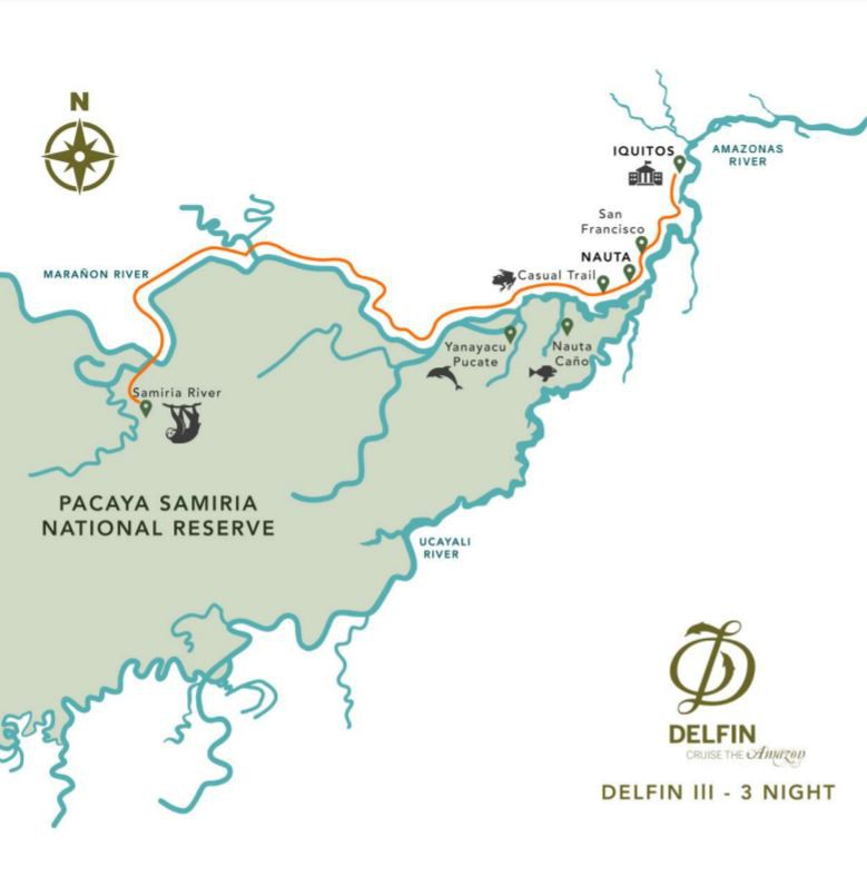 Map for Amazon River Cruise (4 days) Delfin III