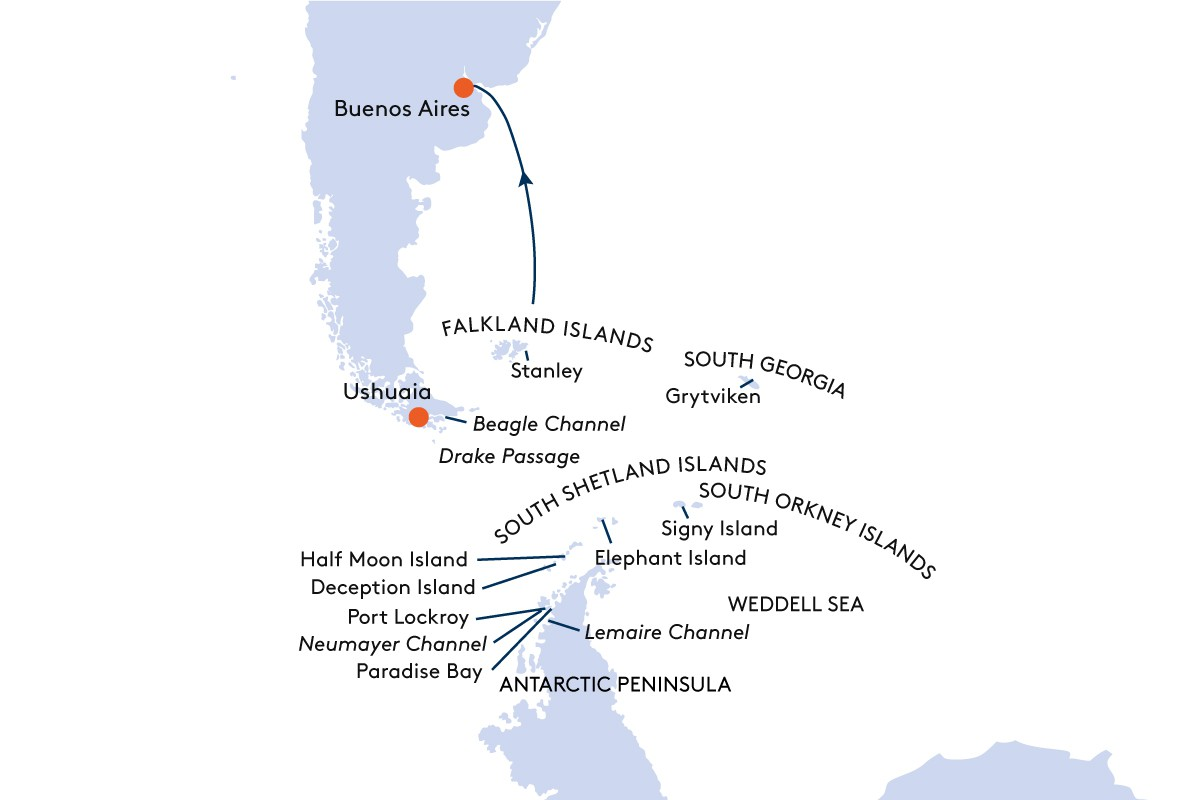 Map for From Ushuaia to Buenos Aires Cruise