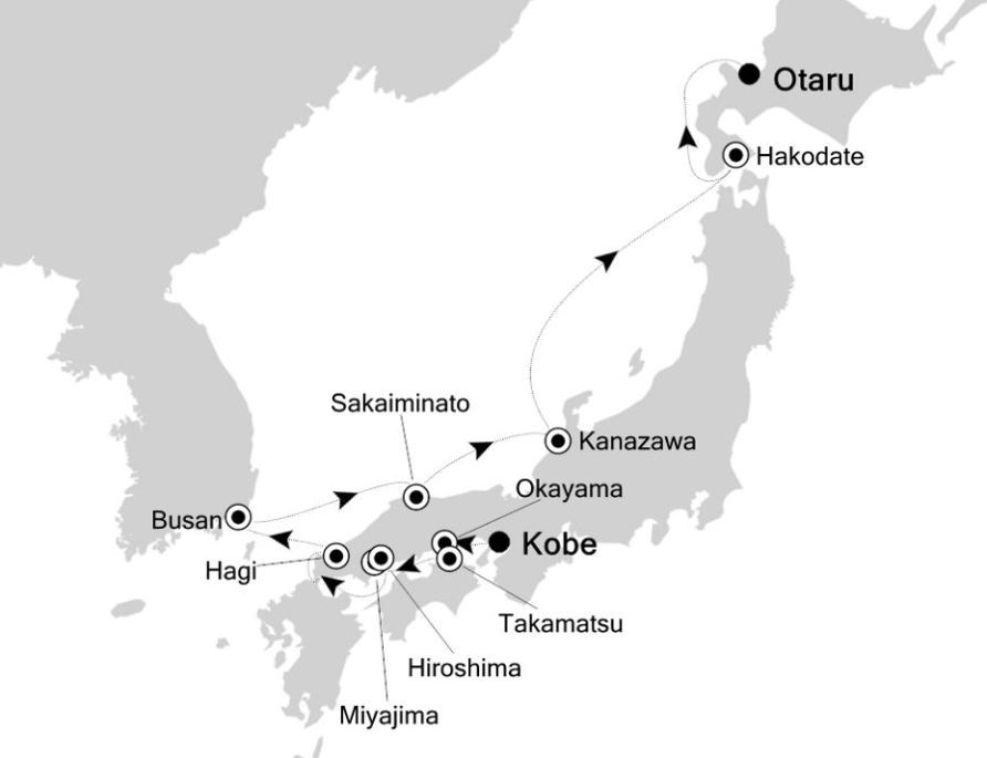 Map for Kobe to Hokkaido: Japan Expedition Cruise 2020
