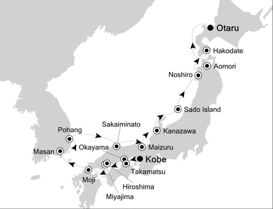 Map for Kobe to Hokkaido: Japan Expedition Cruise 2019