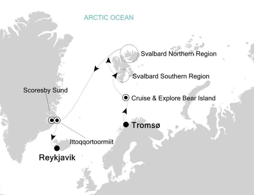 Map for Tromso to Reykjavik: Arctic & Greenland Expedition Cruise