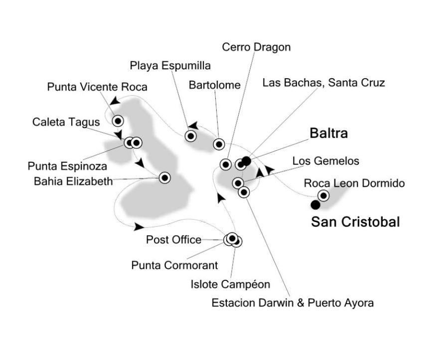 Map for Western Galapagos (Silver Galapagos)
