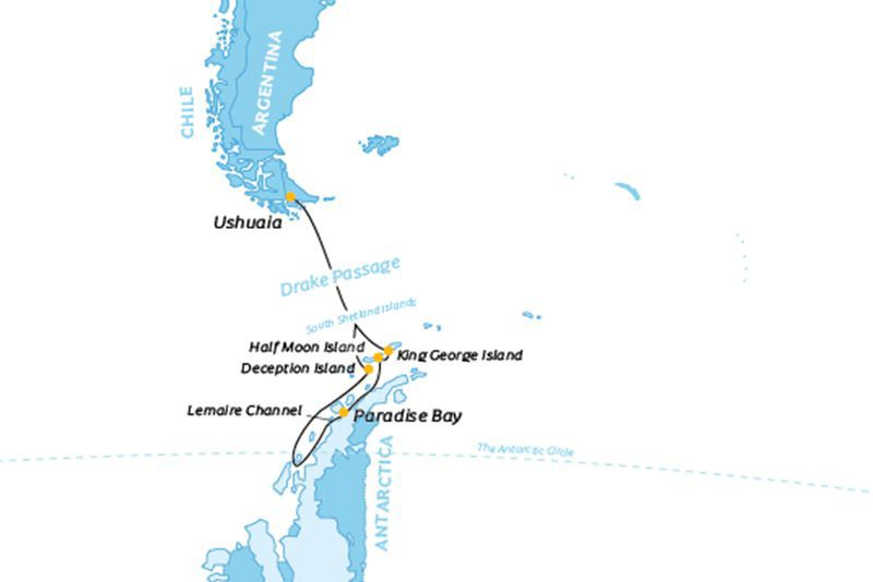 Map for Antarctic Peninsula & Polar Circle