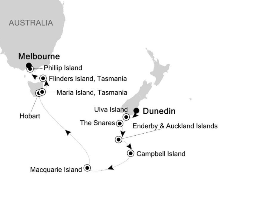 Map for Dunedin to Melbourne: Australia & New Zealand Expedition Cruise