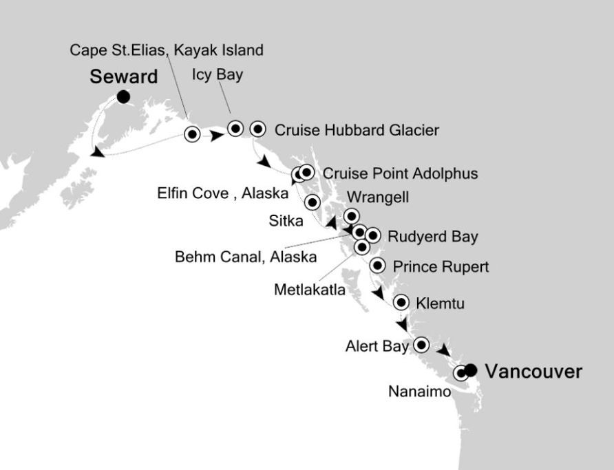 Map for Seward to Vancouver: Canada & Alaska Expedition Cruise