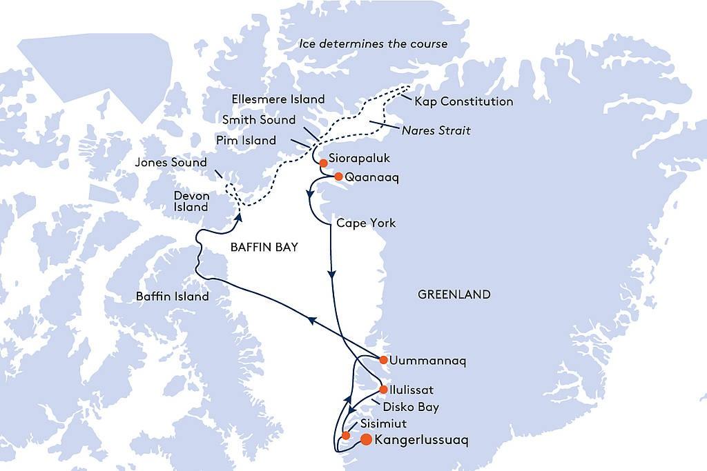 Map for From Kangerlussuaq to Kangerlussuaq Cruise - 17 Days