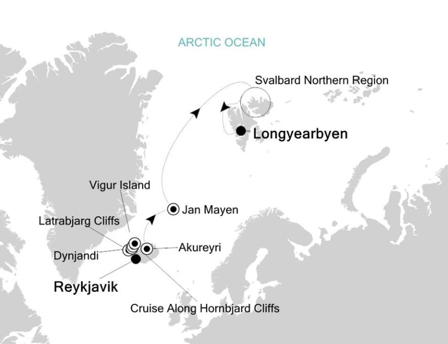 Map for Reykjavik to Longyearbyen: Arctic Expedition Cruise