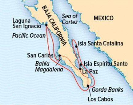 Map for Baja California and the Sea of Cortez (NG SeaBird & SeaLion)