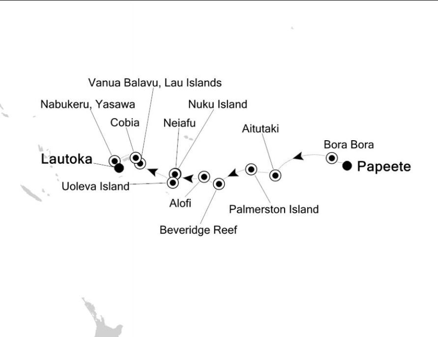 Map for Papeete to Lautoka: South Pacific Islands Expedition Cruise