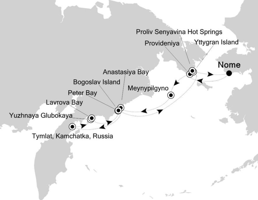 Map for Nome to Nome: Russian Far East Expedition Cruise
