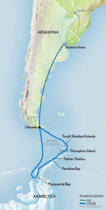 Map for Antarctic Discovery: Palmer's Bicentennial Expedition
