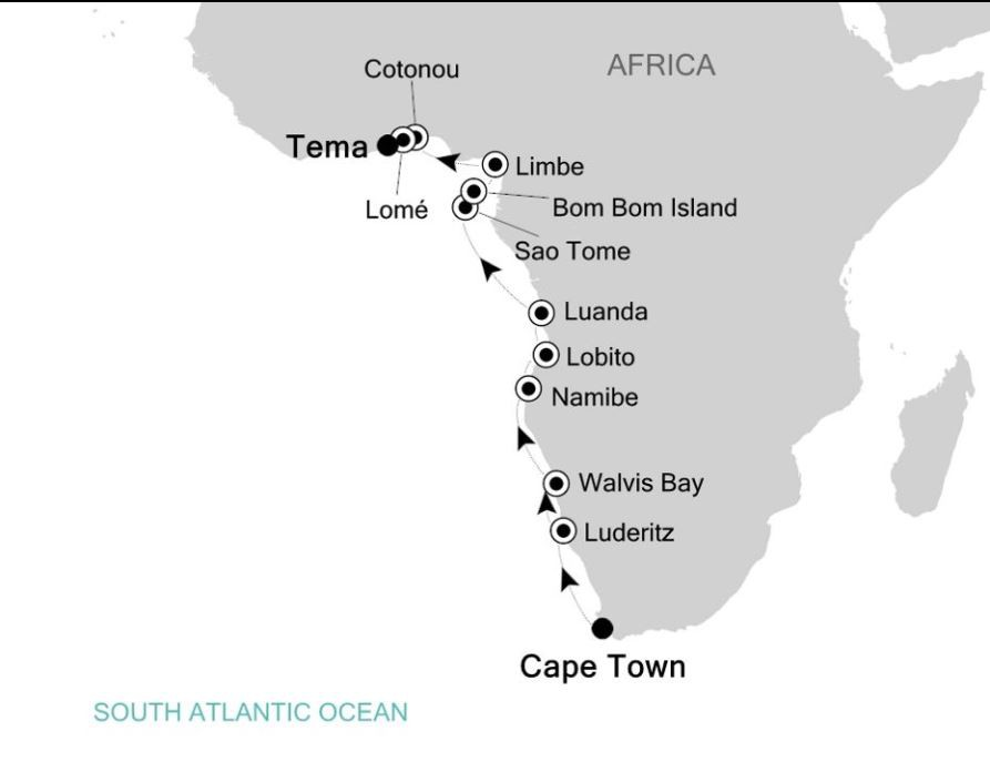 Map for Cape Town to Accra: Africa & Indian Ocean Expedition Cruise