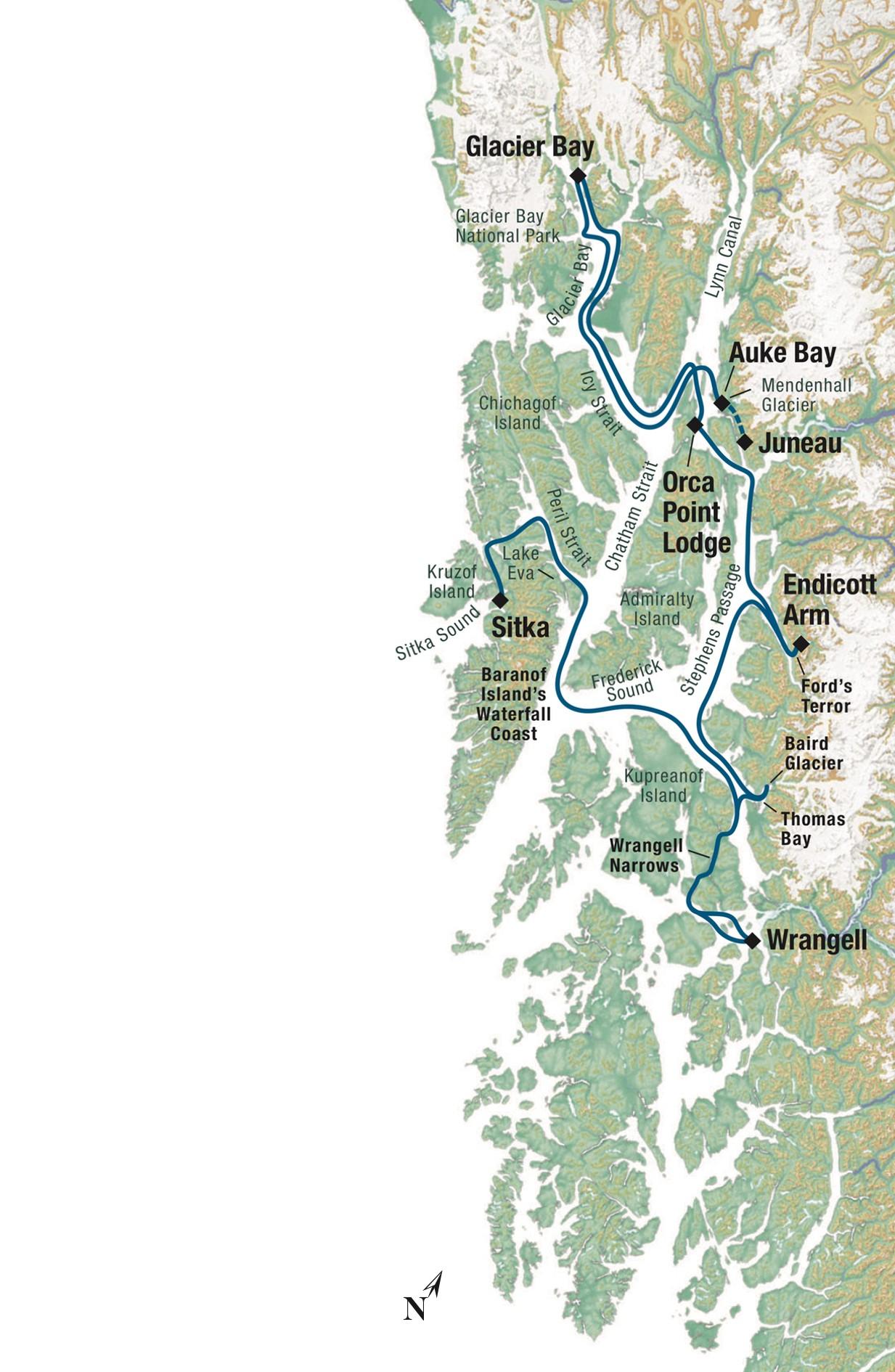 Map for Last Frontier Adventure (Baranof Dream)
