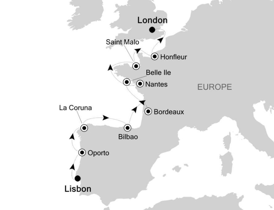 Map for Lisbon to London: Europe Expedition Cruise
