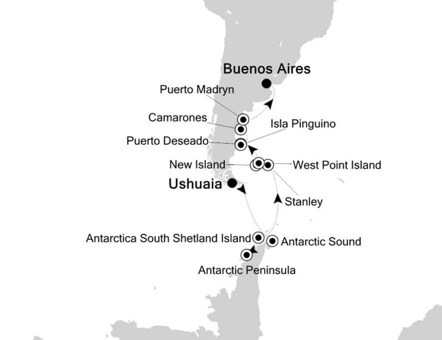 Map for Ushuaia to Buenos Aires: Antarctica Expedition Cruise