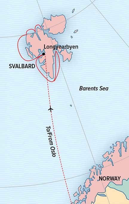 Map for Svalbard in Spring: Polar Bears, Arctic Light & Epic Ice