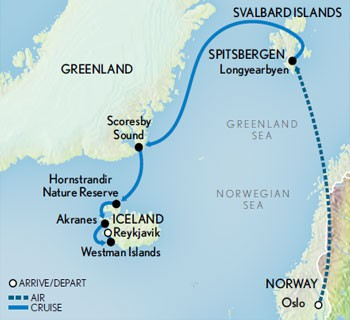 Map for Arctic Cruise Adventure: Norway, Greenland & Iceland