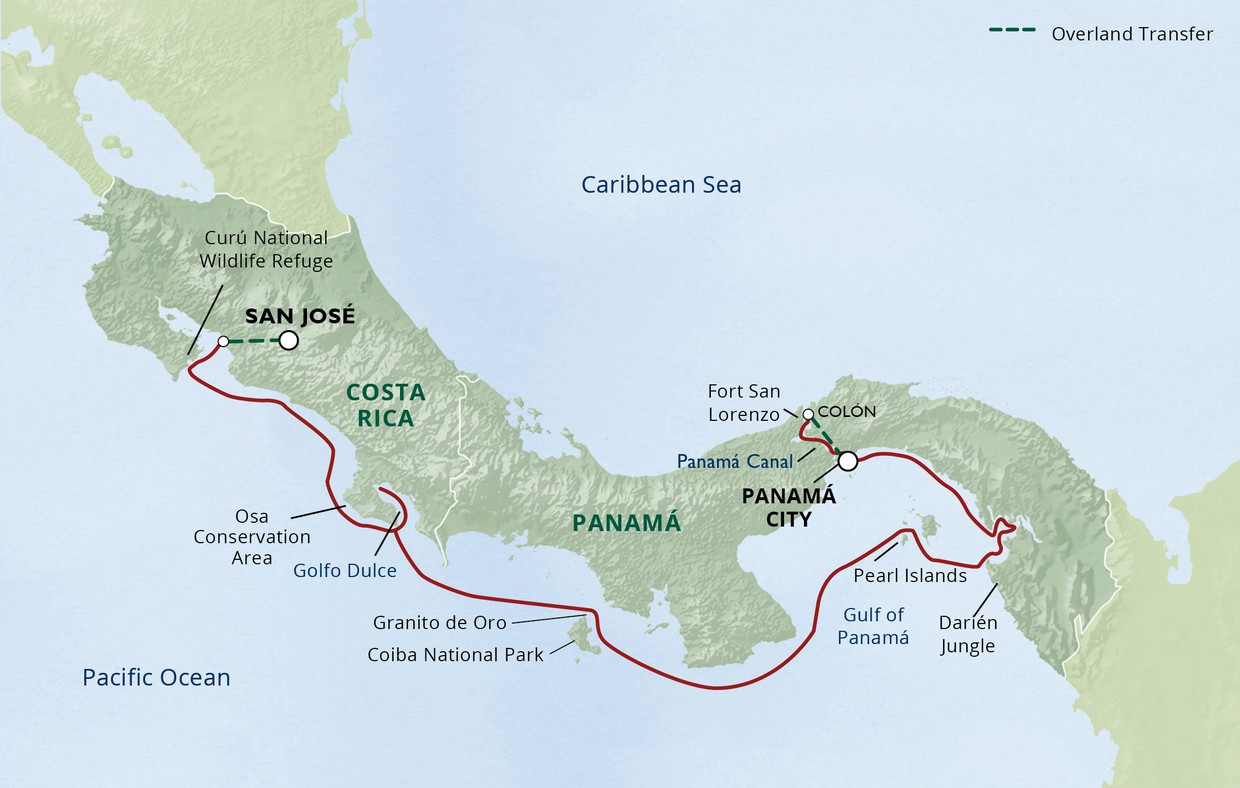 Map for Costa Rica & Panama, Canal, Culture & Adventure Cruise