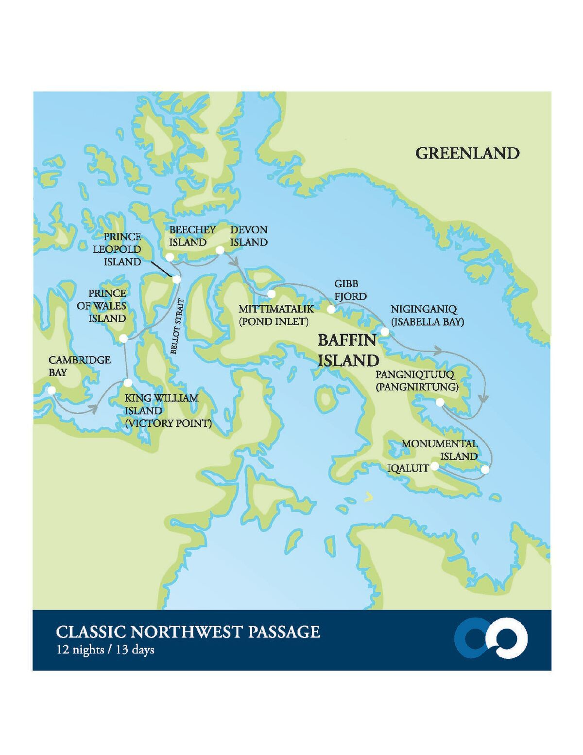 Map for Classic Northwest Passage and Baffin Island (Akademik Ioffe)