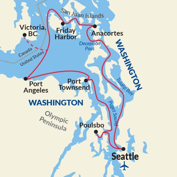 Map for Puget Sound and San Juan Islands Adventure
