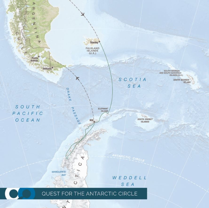 Map for Quest for the Antarctic Circle (RCGS Resolute)