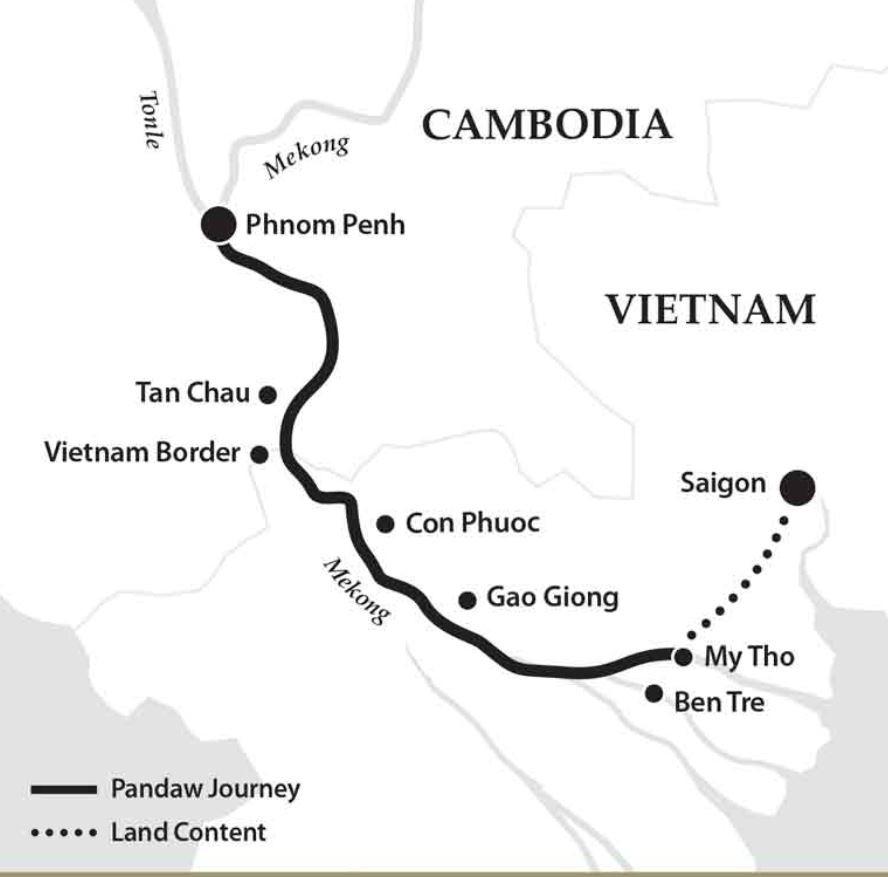 Map for Saigon to Phnom Penh Short Cruise (Indochina Pandaw)