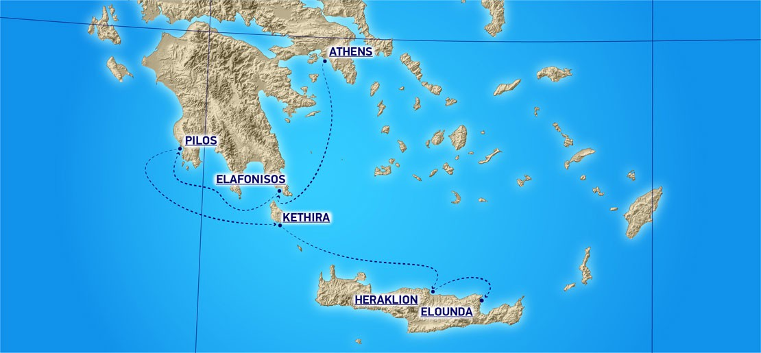 Map for Golf & Sail Greece (Running on Waves)