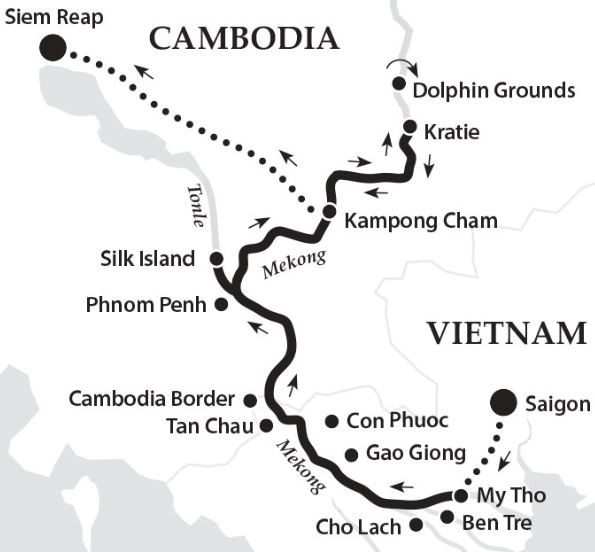 Map for Family Adventure along the Mekong