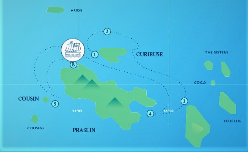 Map for Seychelles Sailing Cruise (May to October)