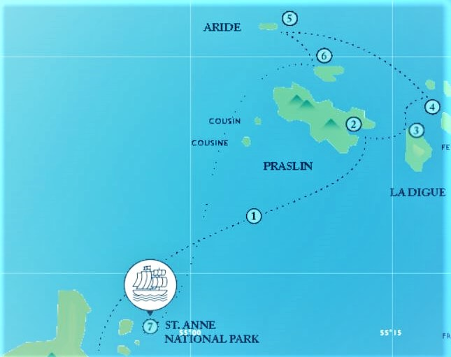 Map for The Seychelles Sailing Cruise (November to April)