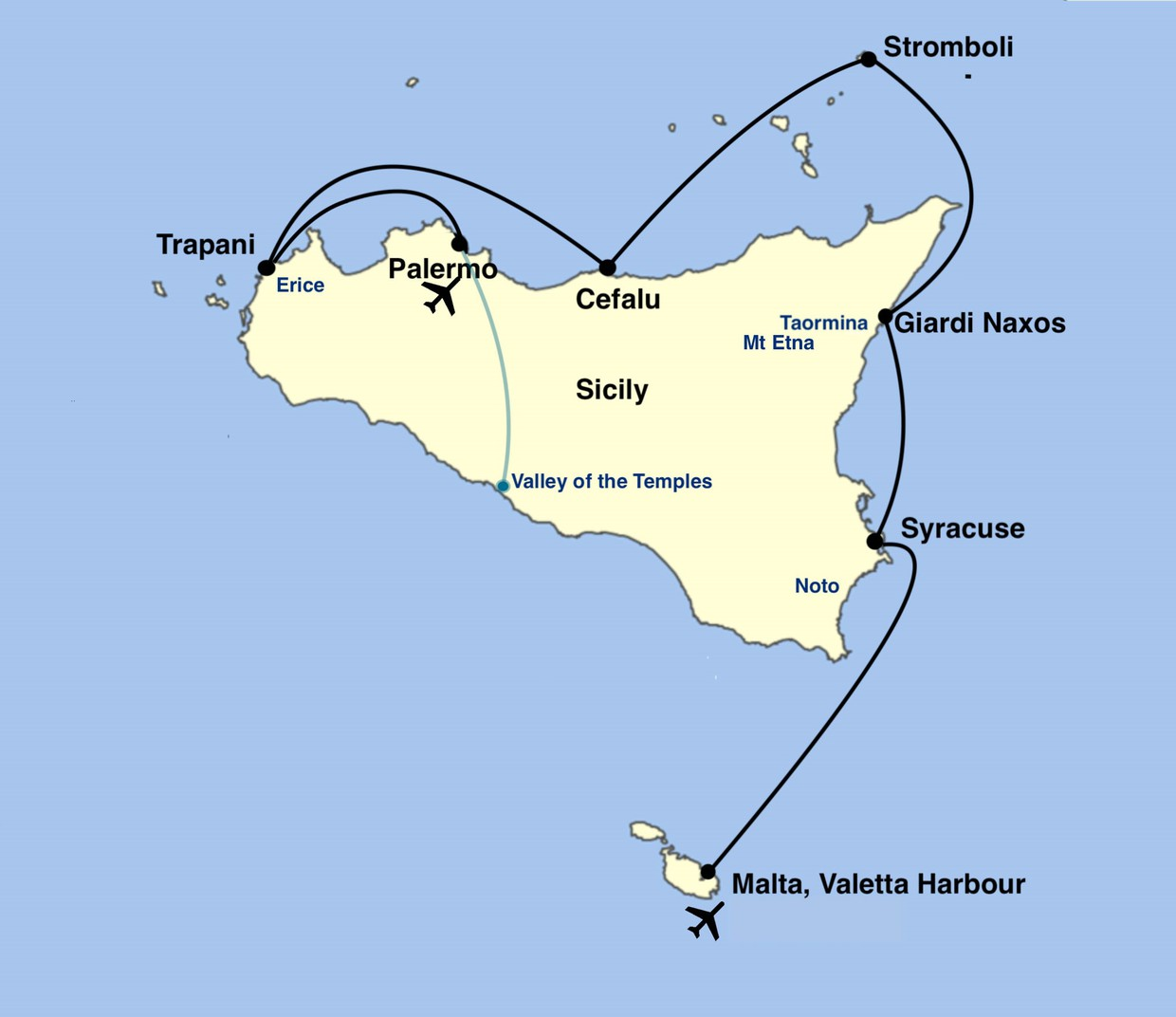 Map for Sicily Cruise - The sights and tastes of Sicily