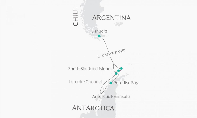 Map for South Shetland Islands & Antarctic Peninsula (Ocean Victory)